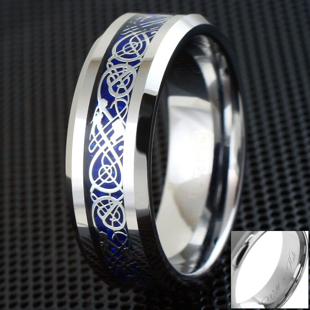 8mm Engraved Blue Celtic Dragon Tungsten Ring Mens Jewelry Wedding Band Ebay