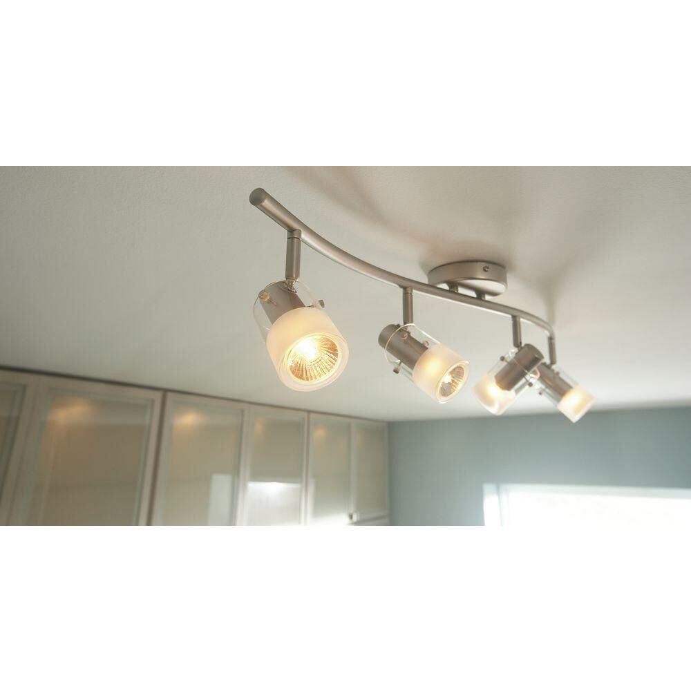 Hampton Bay Ceiling Light Fixtures: New Hampton Bay 4-Spot Light Brushed Steel Wave Bar Track