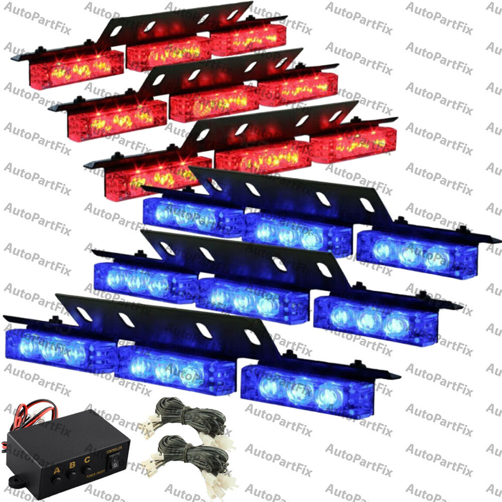 54 amber white yellow led emergency truck car strobe flash light front rear ebay. Black Bedroom Furniture Sets. Home Design Ideas