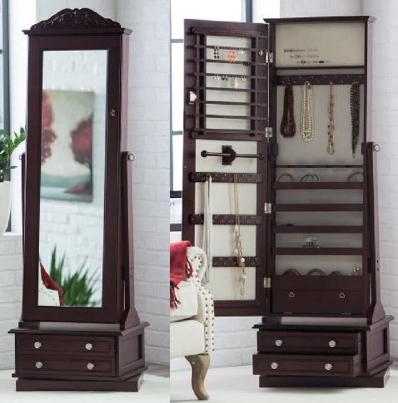 Wooden Jewelry Armoire In Swivel Cheval Full Length Floor
