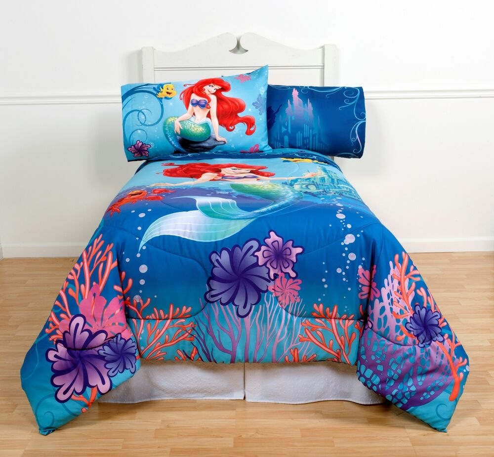 little mermaid comforter girls twin full size ariel children 39 s kids bedding ebay. Black Bedroom Furniture Sets. Home Design Ideas