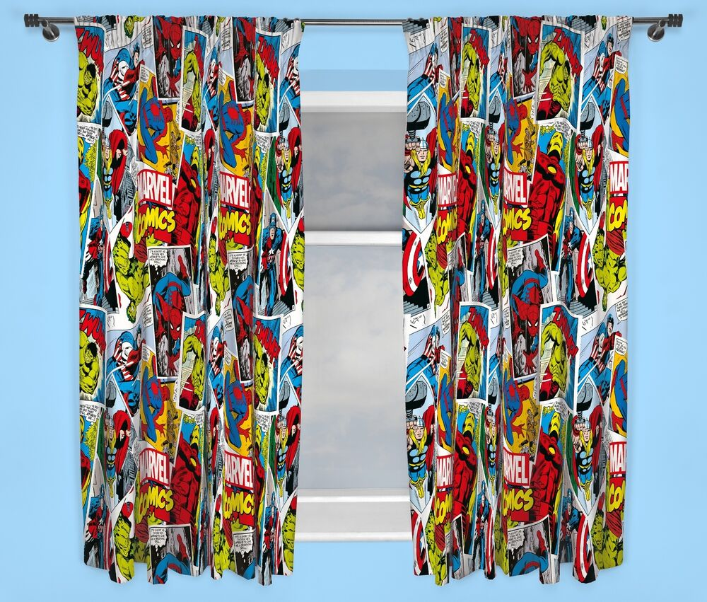 "MARVEL COMICS JUSTICE CURTAINS 66"" X 72"" INCH DROP BOYS"