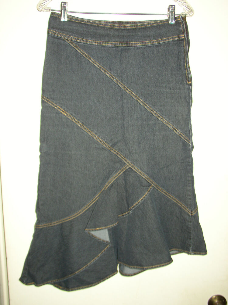 bisou bisou asymetrical denim jean ruffled skirt size 4