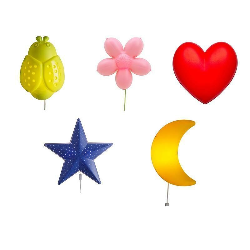 ikea kinderlampe wandlampe smila blume herz stern mond wolke lufttballon ebay. Black Bedroom Furniture Sets. Home Design Ideas