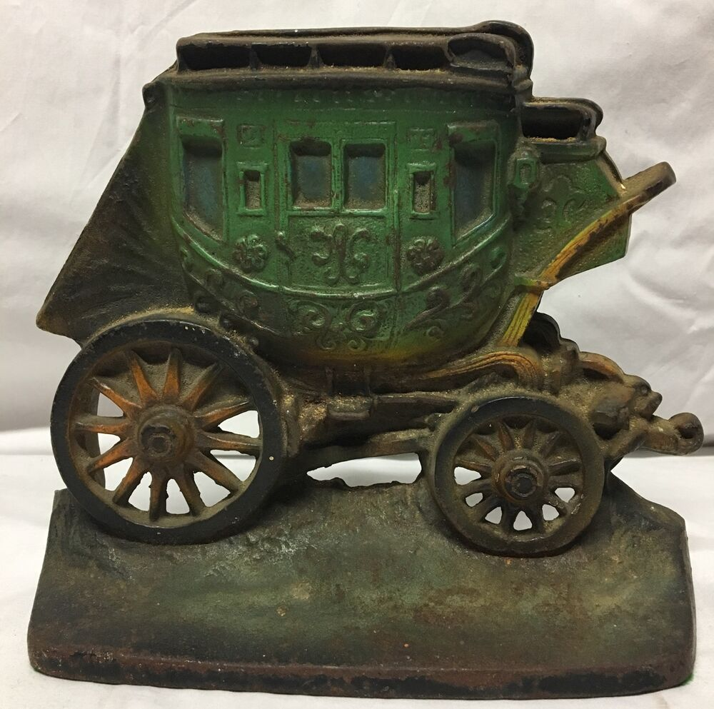 Vintage 1930 Cast Iron Horse Stagecoach Carriage Buggy