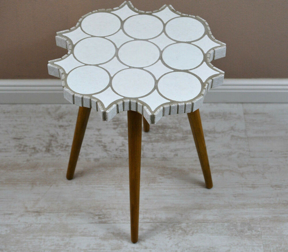 rare german mid century modern plant stand with tile s table stool ebay. Black Bedroom Furniture Sets. Home Design Ideas