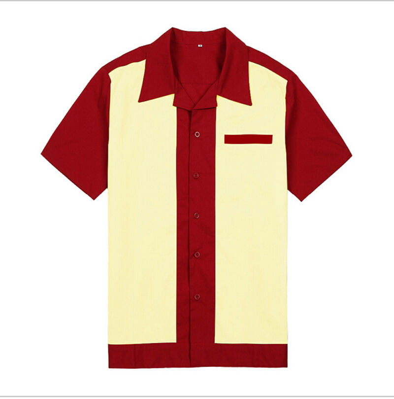 Mens rockabilly retro bowling shirts 50s 60s style cotton for Best mens dress shirts under 50