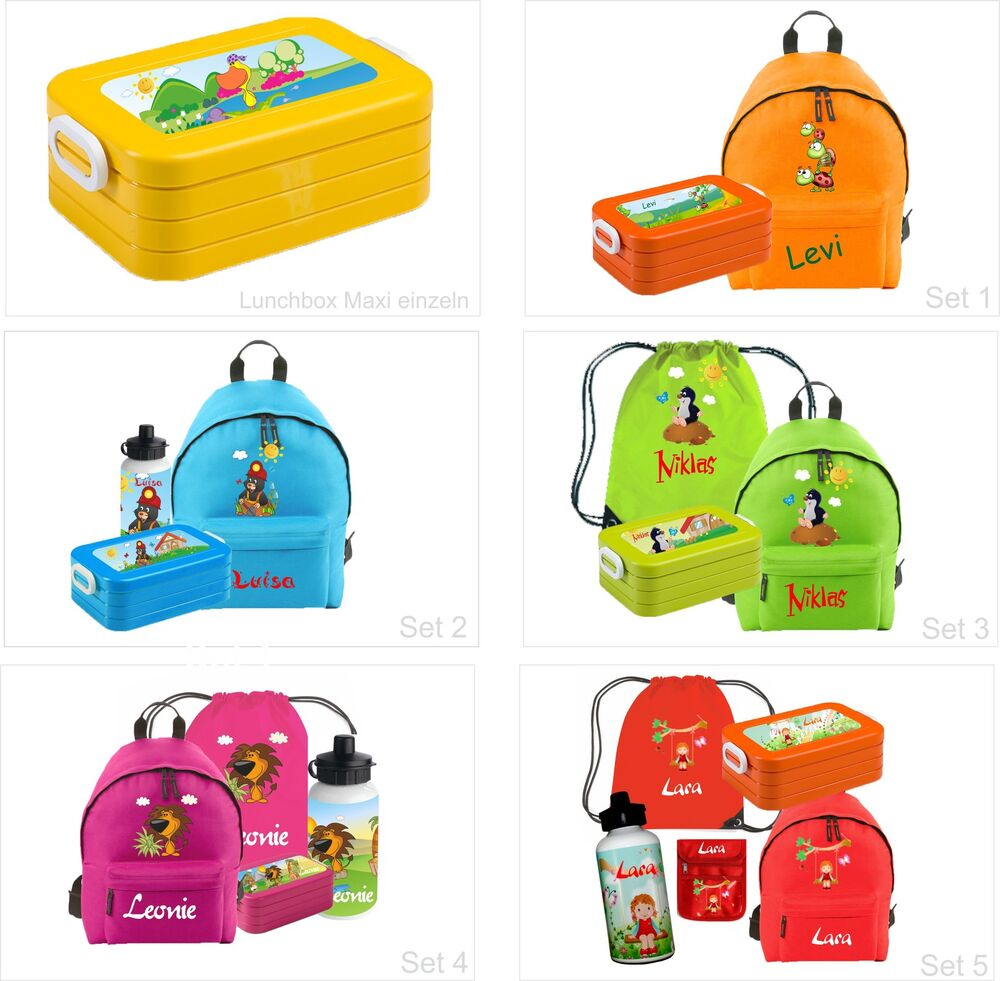 set rucksack junior mit namen und wunschmotiv schule schultasche kinderrucksack ebay. Black Bedroom Furniture Sets. Home Design Ideas