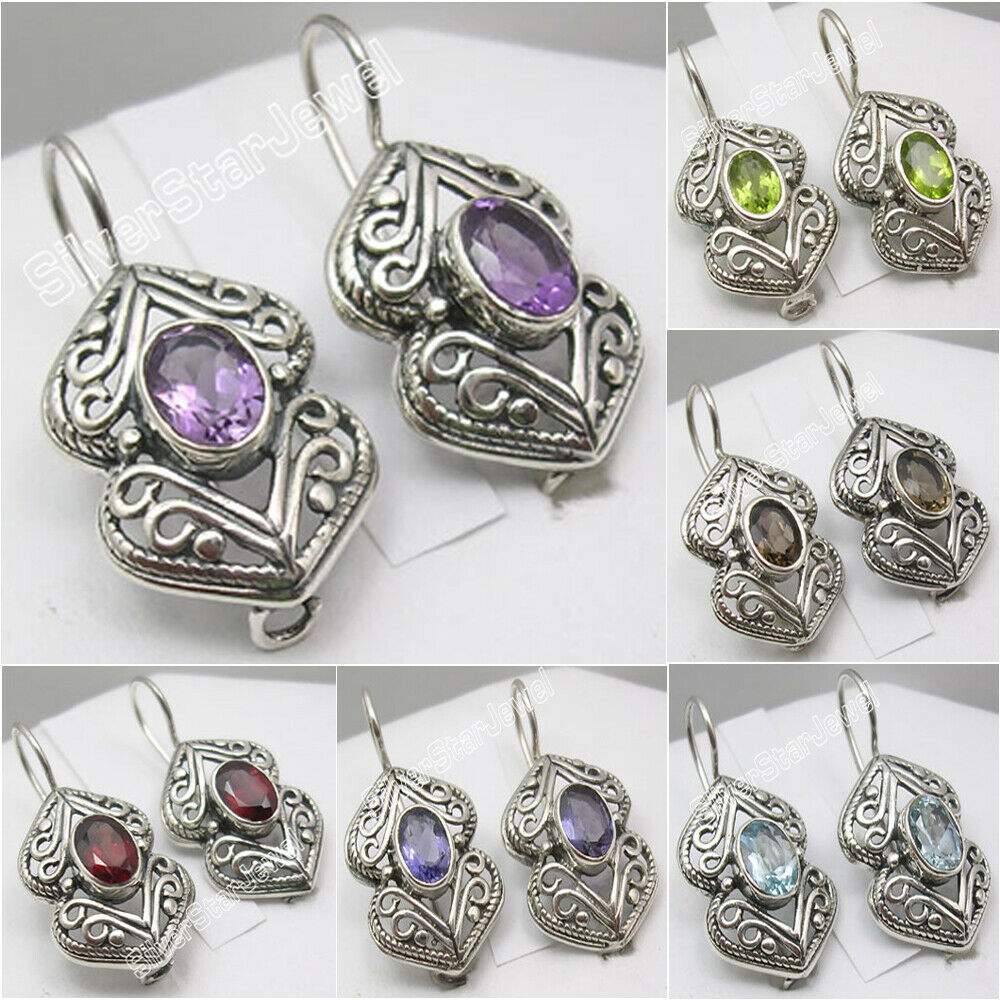 Silver Clear Indian Costume Jewellery Necklace Earrings: 925 Pure Silver Antique Style Earrings ! Made In India