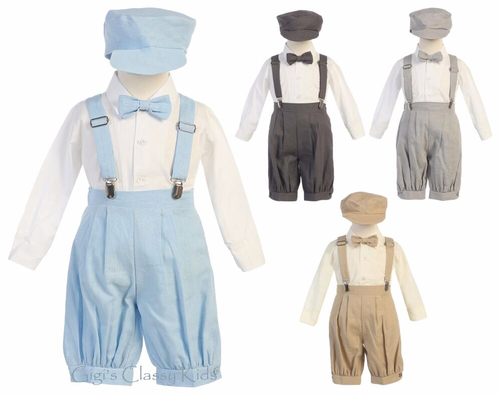 e98068162835d Details about Baby Toddler Boys Knickers Vintage Suit Outfit Set Easter  Wedding Hat Suspenders