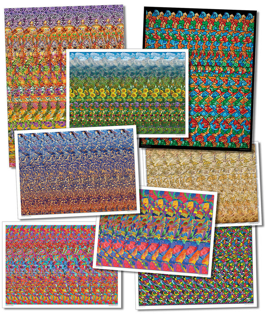 Set of 7 hidden 3d stereogram posters llusion ebay for 3 by 3 prints