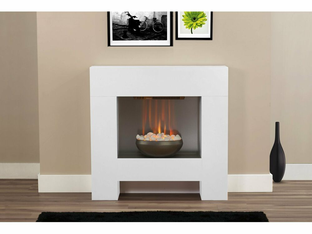 electric fire modern white fireplace surround white pebbles bowl rh m ebay co uk Upscale Modern Fireplace Surround Fireplace Surround Ideas