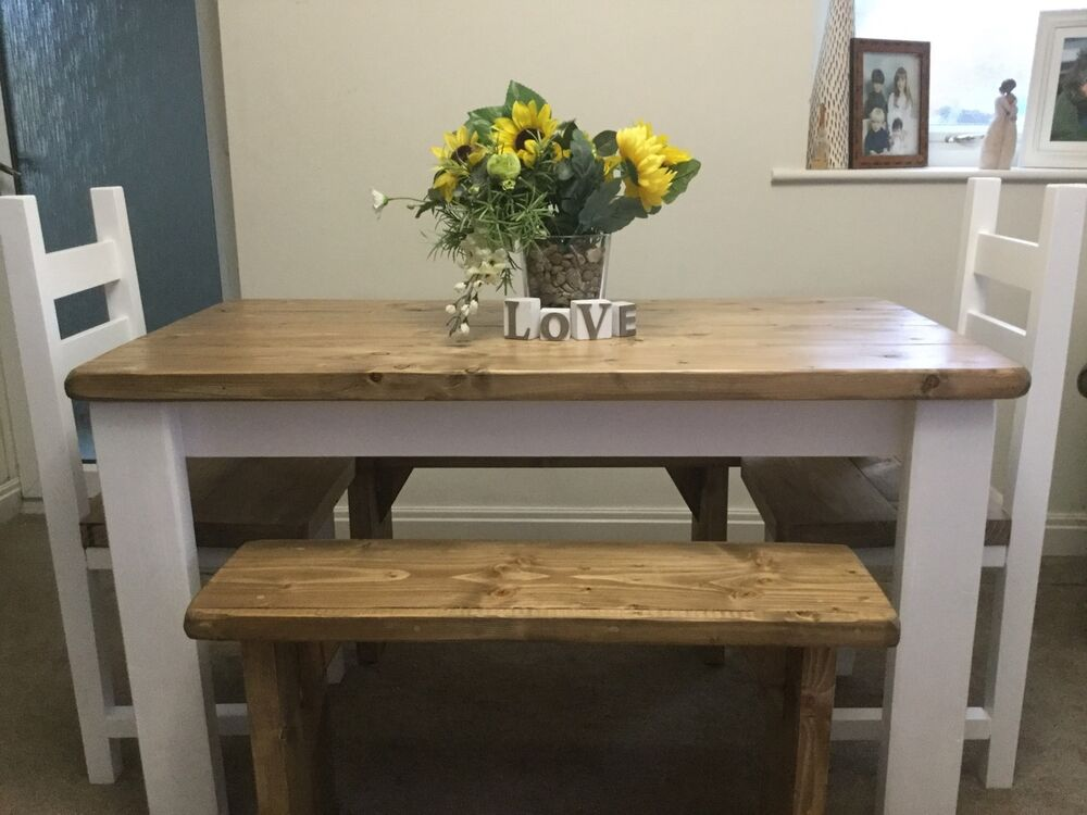 Rustic Shabby Chic Dining Table 2 Chairs And 2 Bench Set EBay