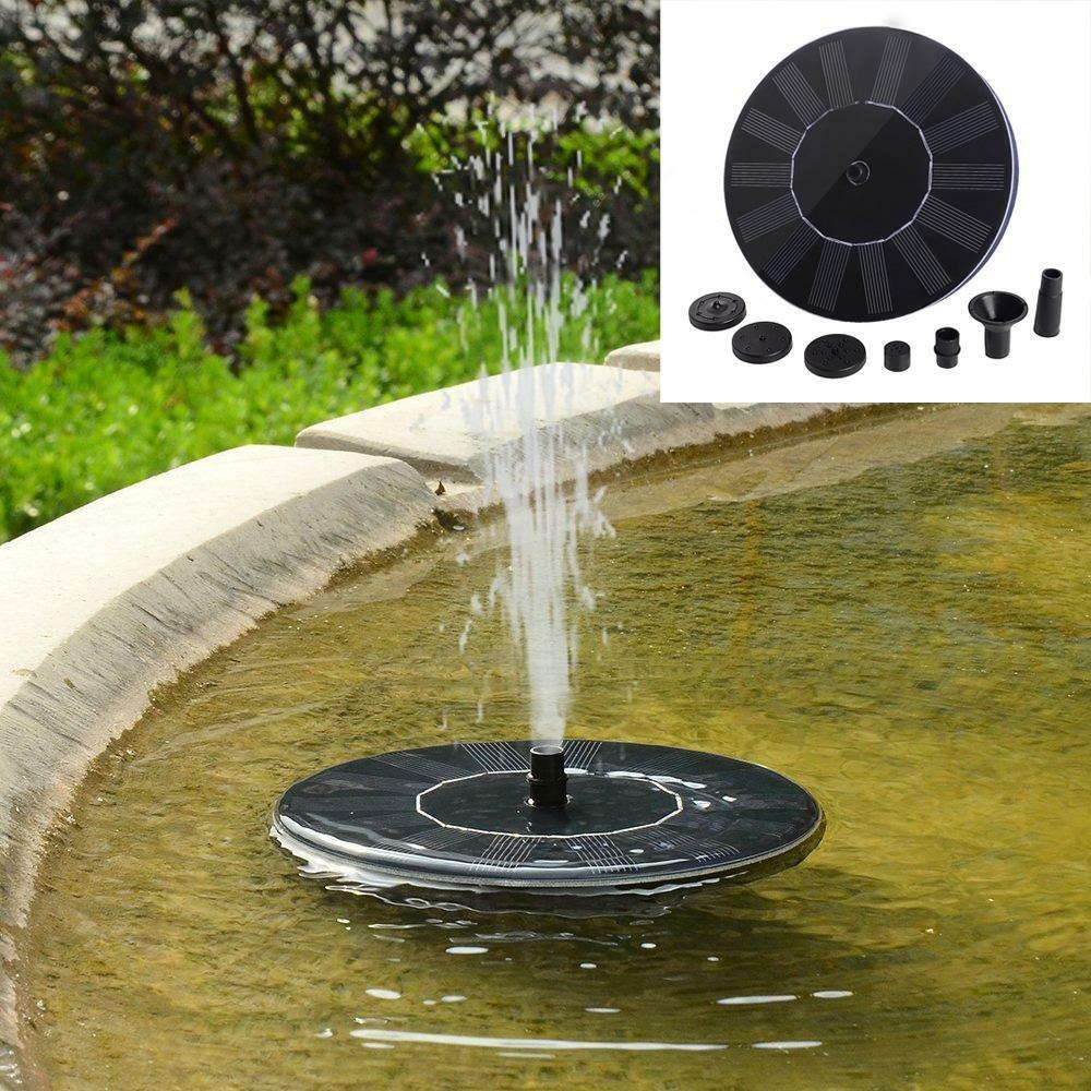 Outdoor solar powered bird bath water fountain pump for for Pond features and fountains