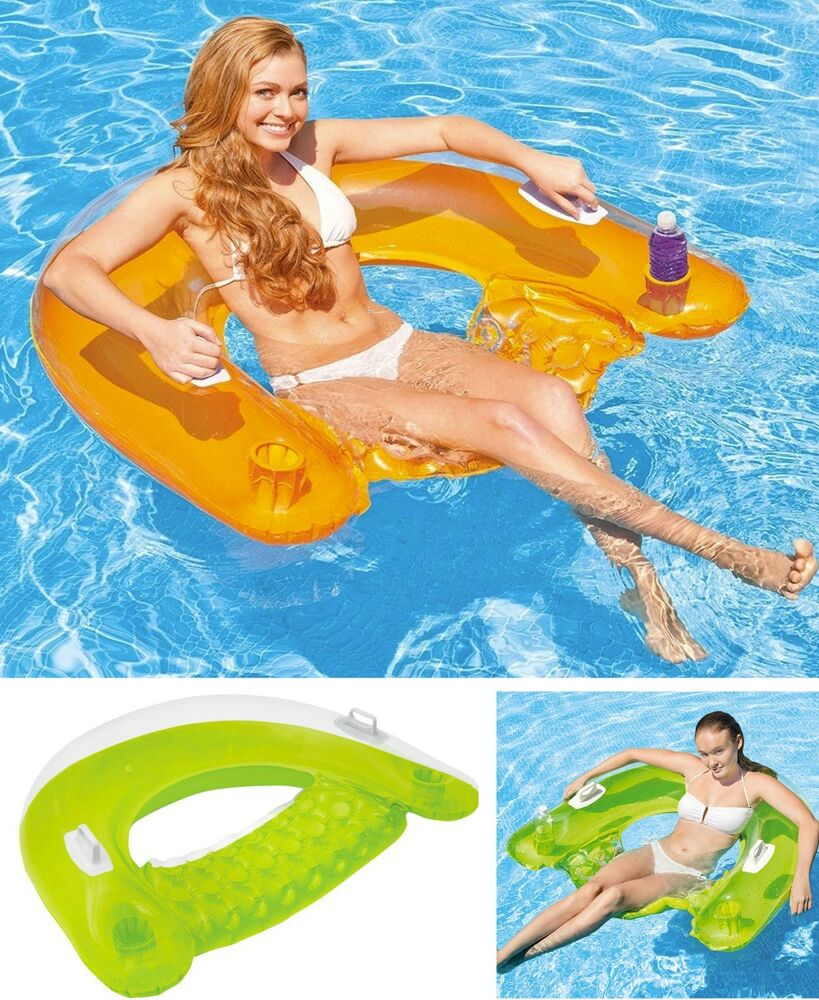 "Inflatable Slide North Myrtle Beach: Intex Inflatable 60"" Sit N Float Swimming Pool Beach Chair"