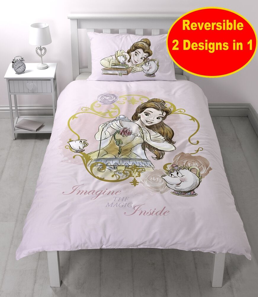 disney princess beauty and the beast single duvet quilt cover set girls pink bed ebay. Black Bedroom Furniture Sets. Home Design Ideas