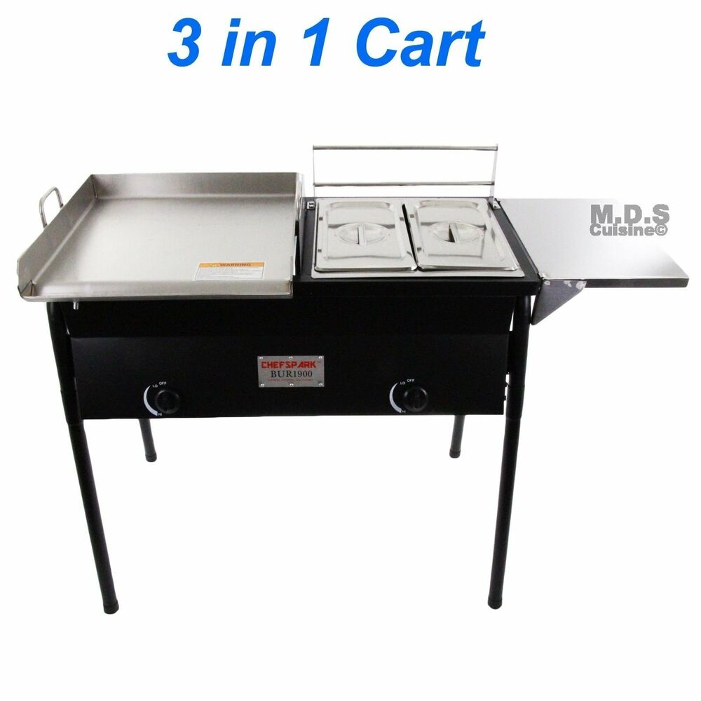 Taco Cart W Griddle 18x16 Stainless Steel Double Deep