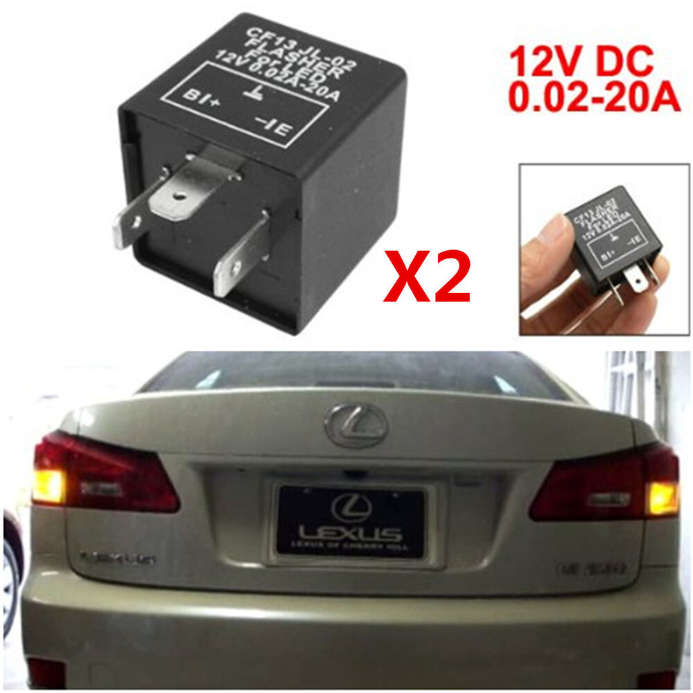 2x 3 Pin Led Flasher Relay For Car Turn Signal Lights