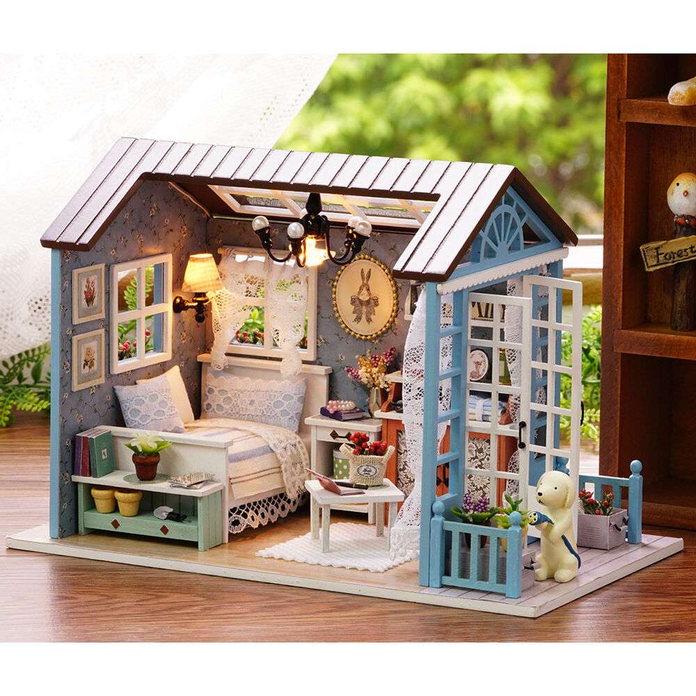 DIY Doll House Music Lights Miniature Furniture Kit Wooden