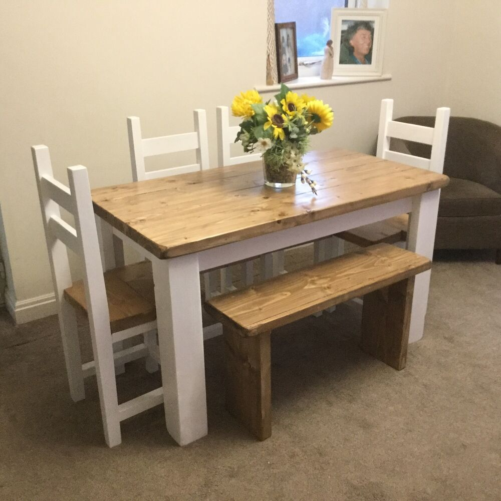 Shabby chic rustic dining table 4 chairs and bench set ebay - Shabby chic dining table set ...