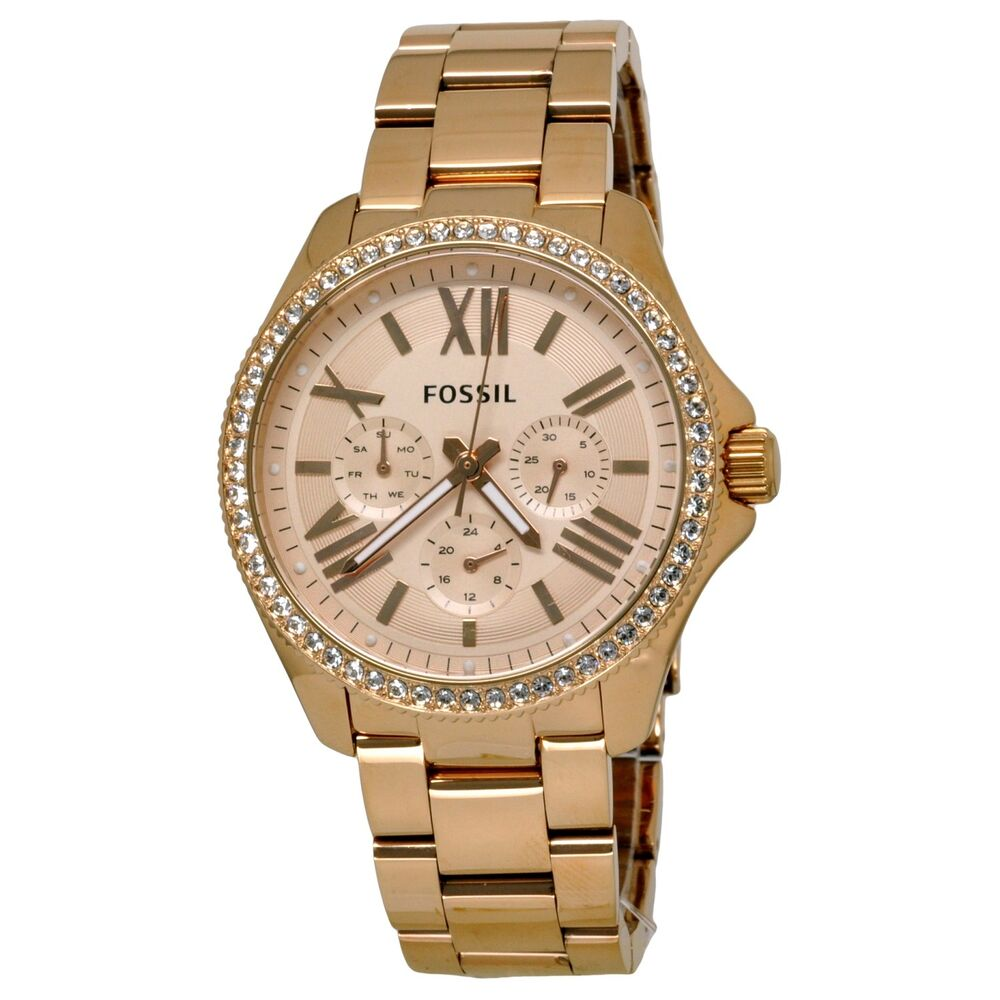 fossil women 39 s am4483 cecile rose gold tone multifuntion watch with crystals ebay. Black Bedroom Furniture Sets. Home Design Ideas
