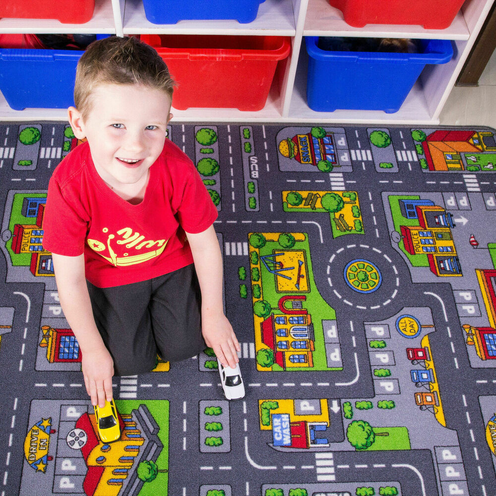 Childrens City Road Rugs Town Cars Map Play Village Mat