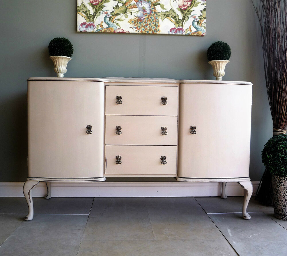 vintage french style sideboard dresser cabinet hand painted shabby chic ebay. Black Bedroom Furniture Sets. Home Design Ideas