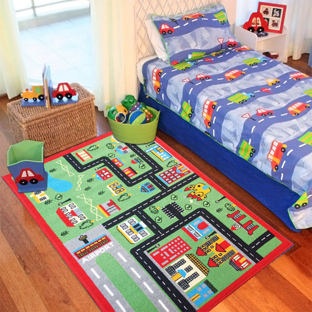 GREEN TOWN CITY CARS ROADS RUGS BEDROOM KIDS FLOOR GIRLS