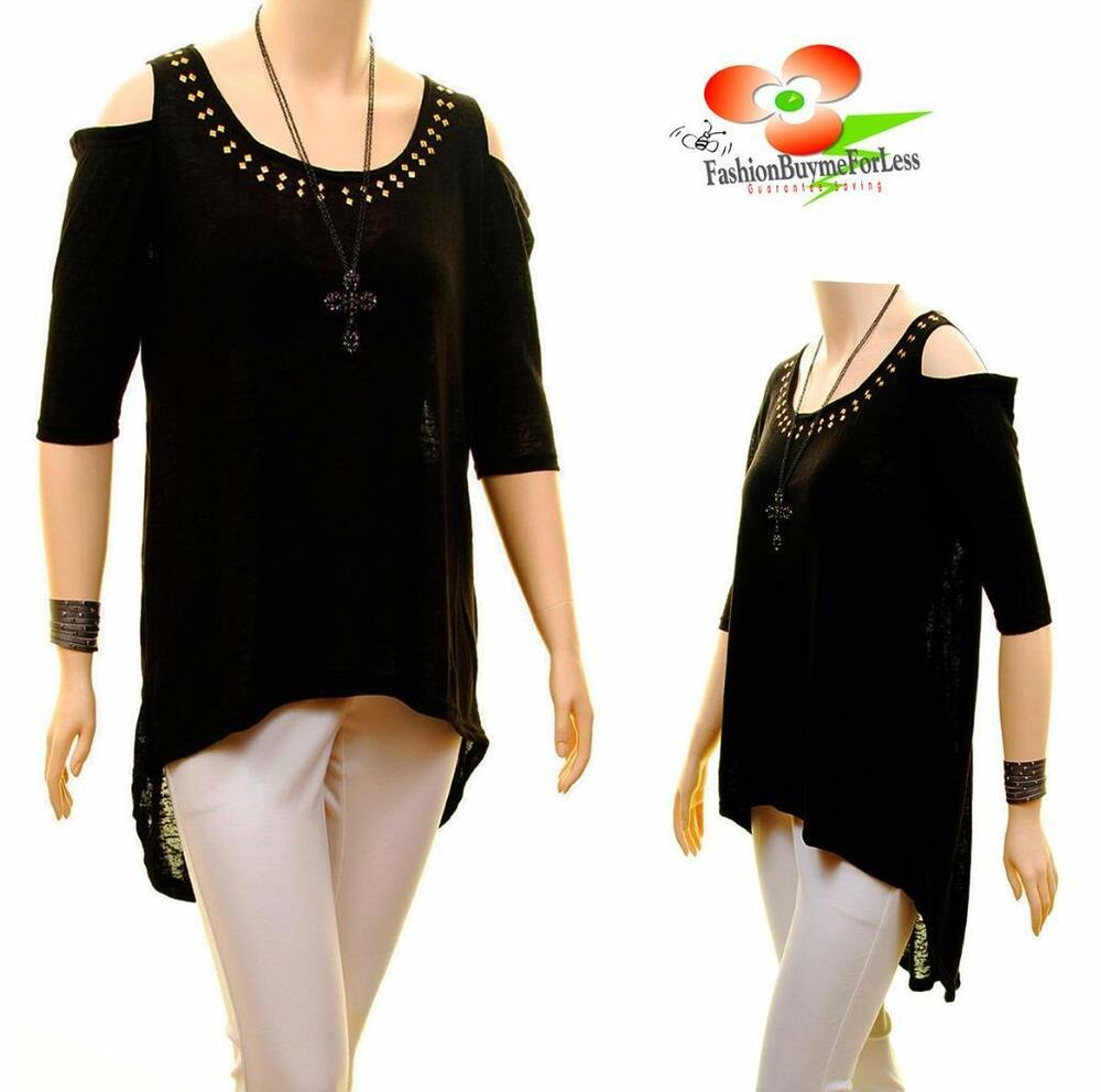 Plus size open cold shoulder studs 3 4 sleeve jersey tunic for Plus size 3 4 sleeve tee shirts
