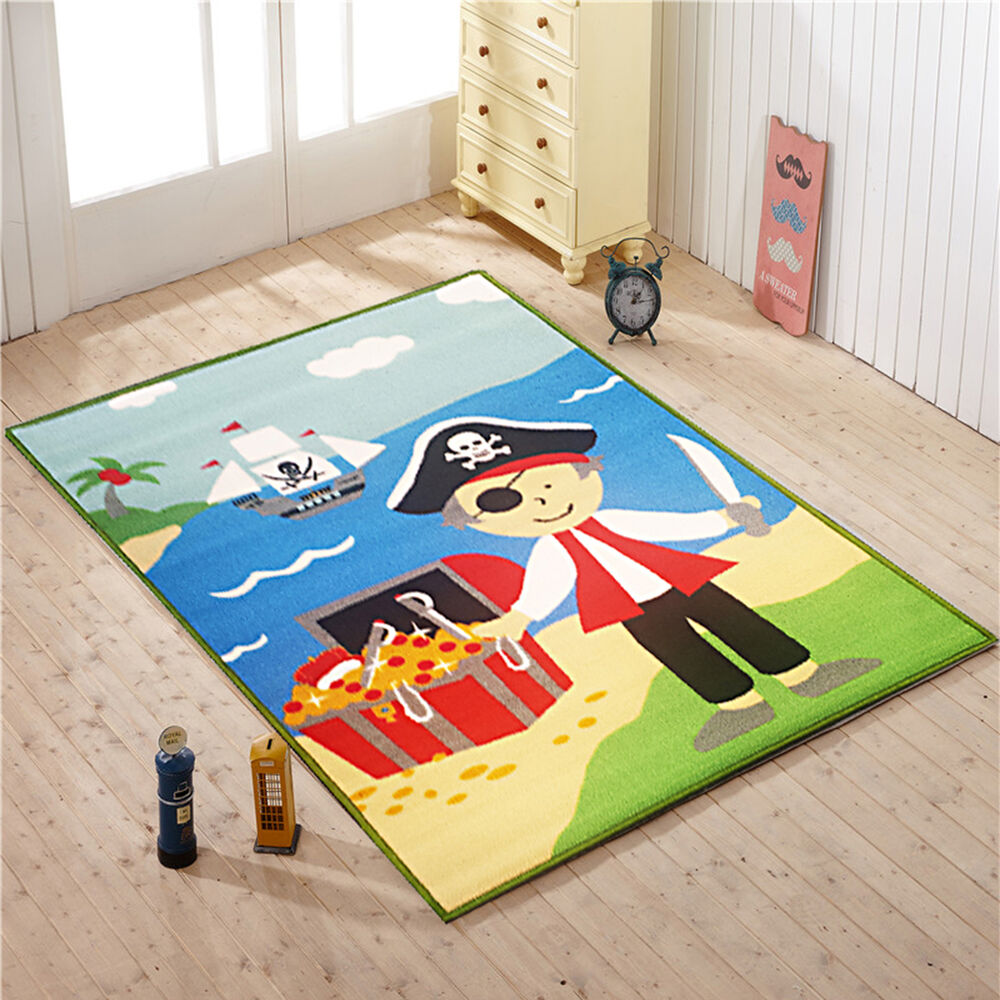 Pirate treasure kids bedroom floor rug boys play mats carpets anti slip washable ebay - Amazing style rugs for kids rooms ...