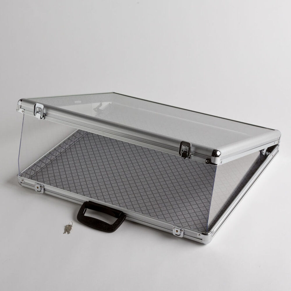 Portable Exhibition Case : Small portable aluminum glass counter top locking
