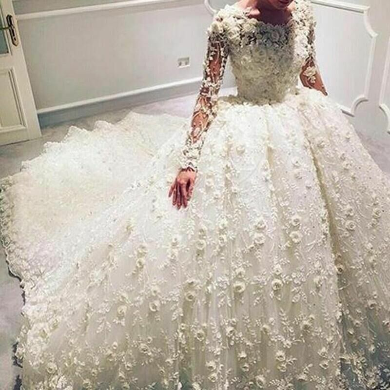 Flowers ball gown lace wedding dresses long sleeve big for Ball gown wedding dresses with long trains