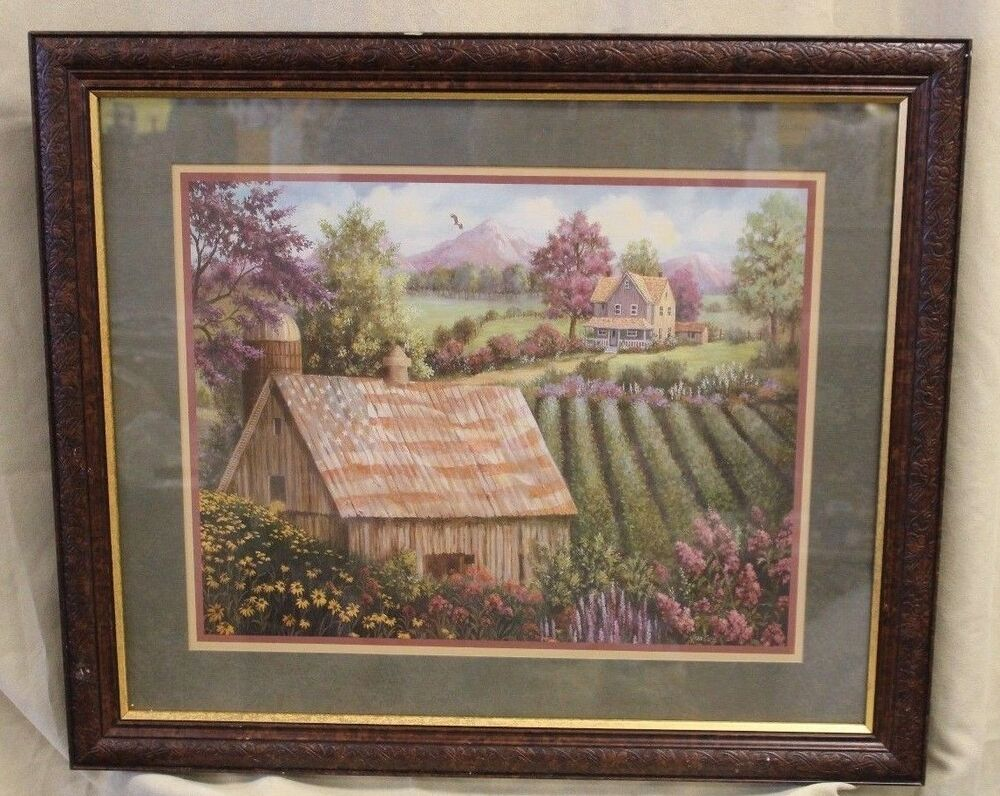 Homco Home Interiors 24 X 28 Joan Cole Barn W Flag Farm