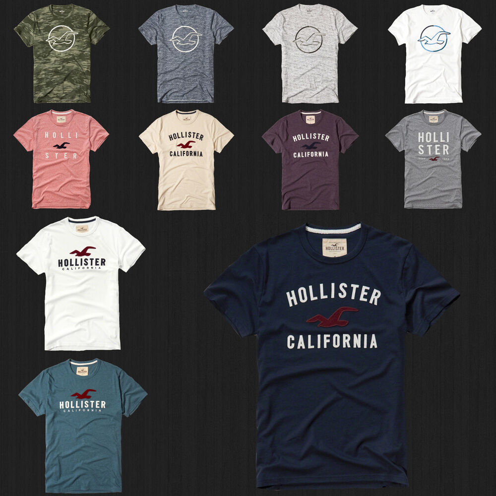 Hollister Sweaters Hollister Hoodies Hollister Shirts Hollister Jacket Hollister Pants Hollister Jeans: NWT HOLLISTER Printed And Applique Logo Graphic Men T