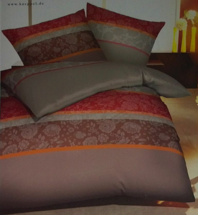 kaeppel mako satin bettw sche set 155 x 220 cm rot braun gestreift 416946 ebay. Black Bedroom Furniture Sets. Home Design Ideas