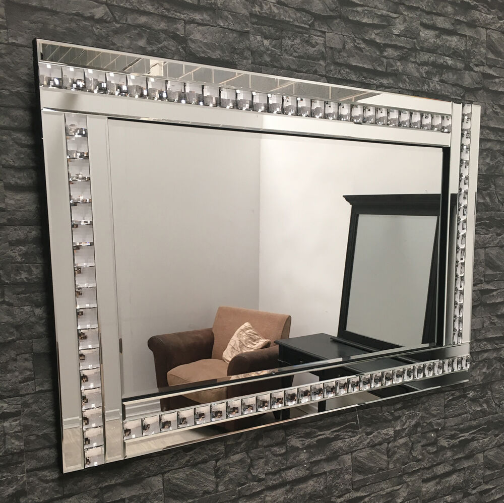 Large clear glass framed crystal mirror 120 x 80cm ebay for Mirror 120 x 80
