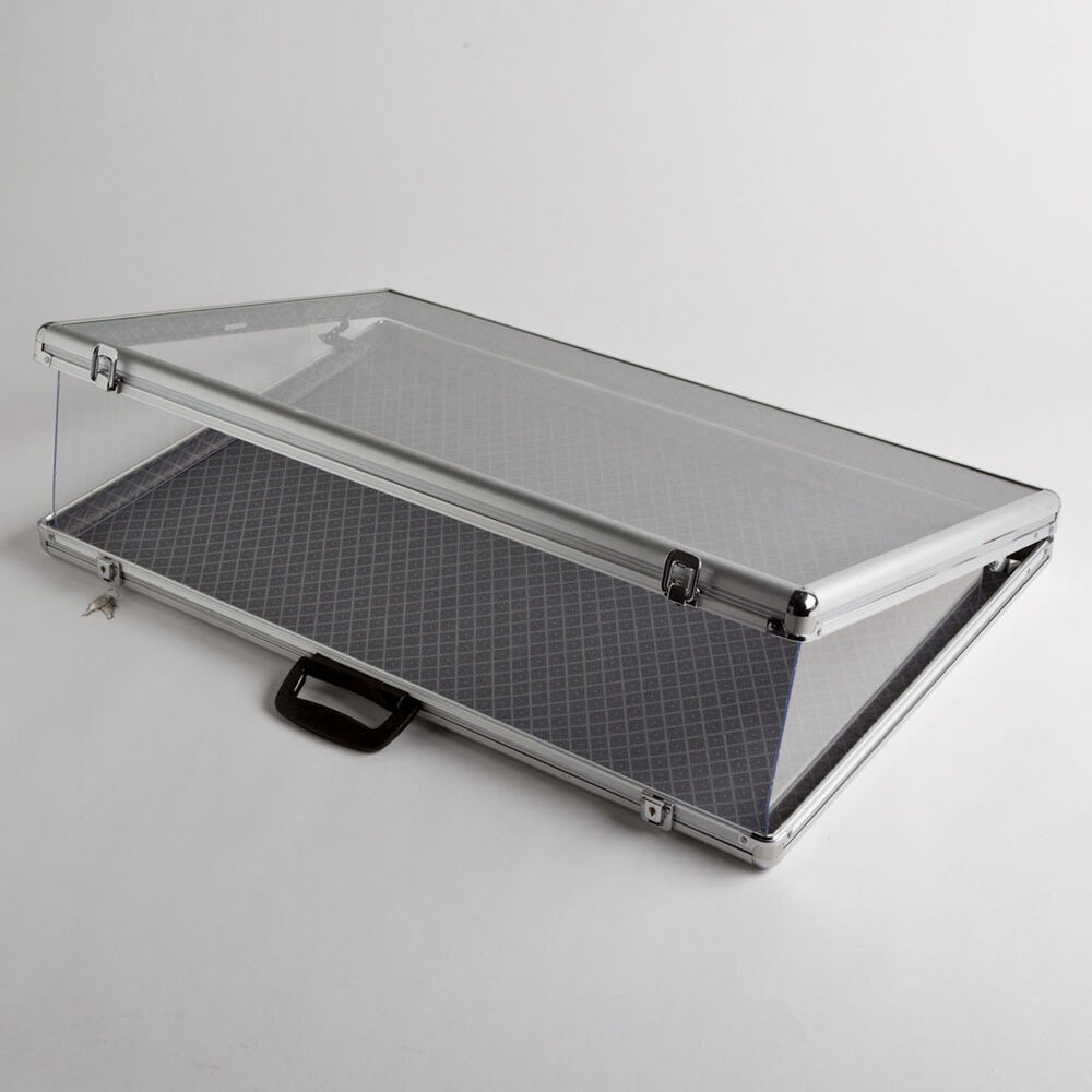 Portable Exhibition Display Cases : Large portable aluminum glass counter top locking