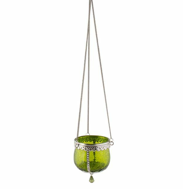 Hanging lantern green crazed glass and metal tea light for Hanging votive candles