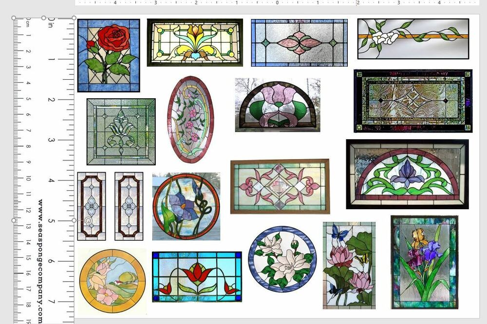 Dollhouse miniature shabby chic stained glass windows on clear sticker sheet 3 ebay