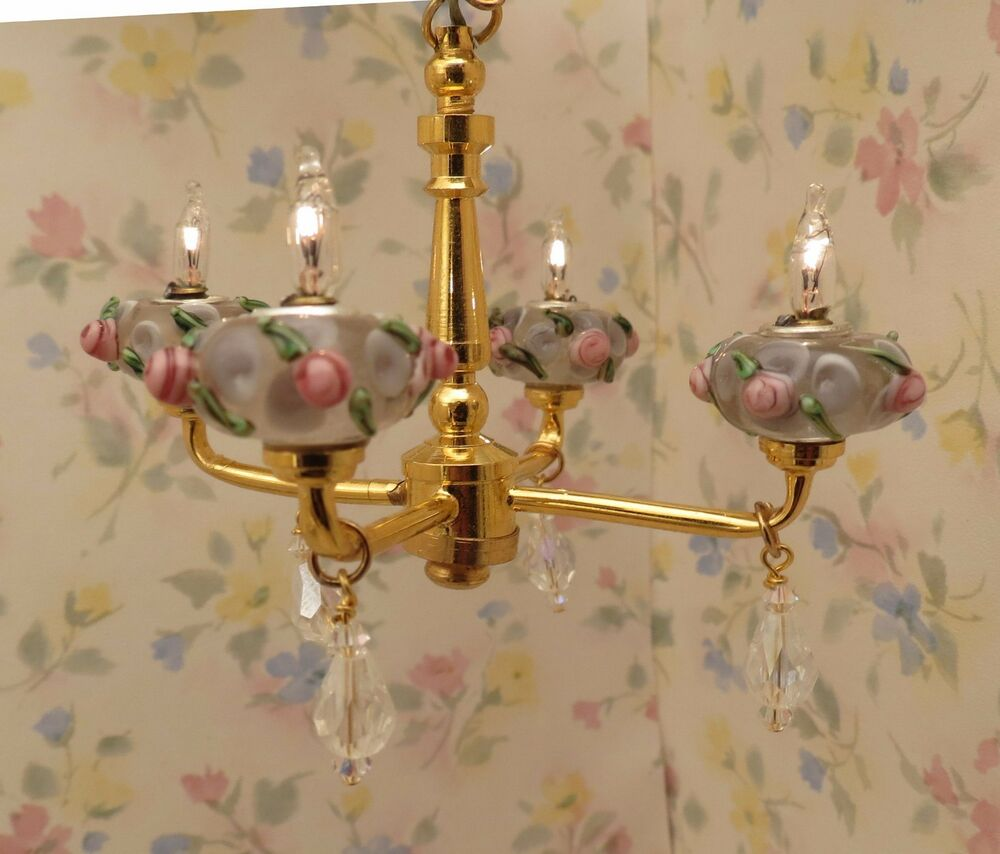 Swarovski Crystal Dollhouse Chandelier: Dollhouse Miniature Shabby Chic Pink Roses Crystal 4 Arm