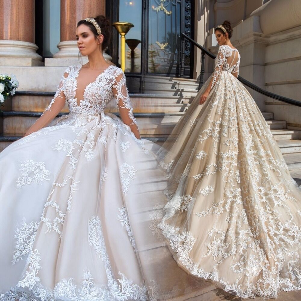 Gorgeous Lace Ball Gown Wedding Dresses V Neck Sheer Long