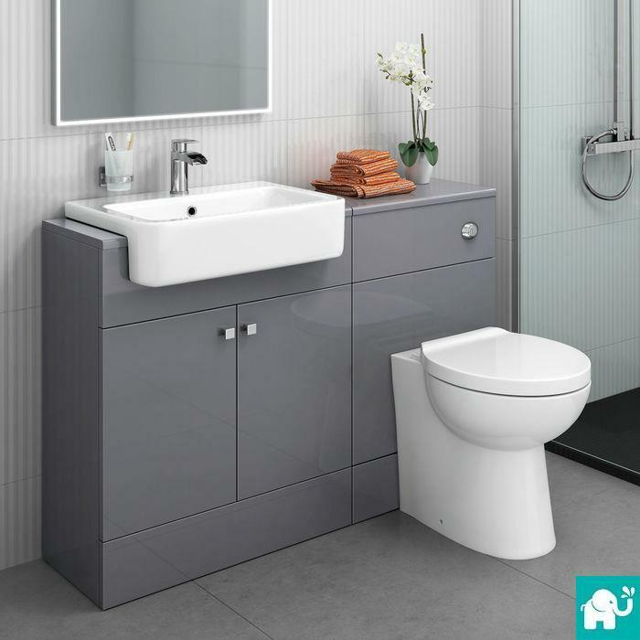 1160mm Harper Gloss Grey Combined Vanity Unit - Quartz Pan