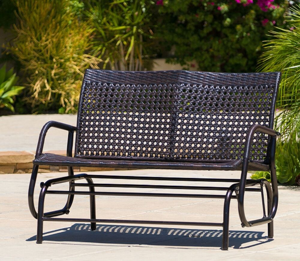 Outdoor Loveseat Glider Brown Wicker Patio Furniture