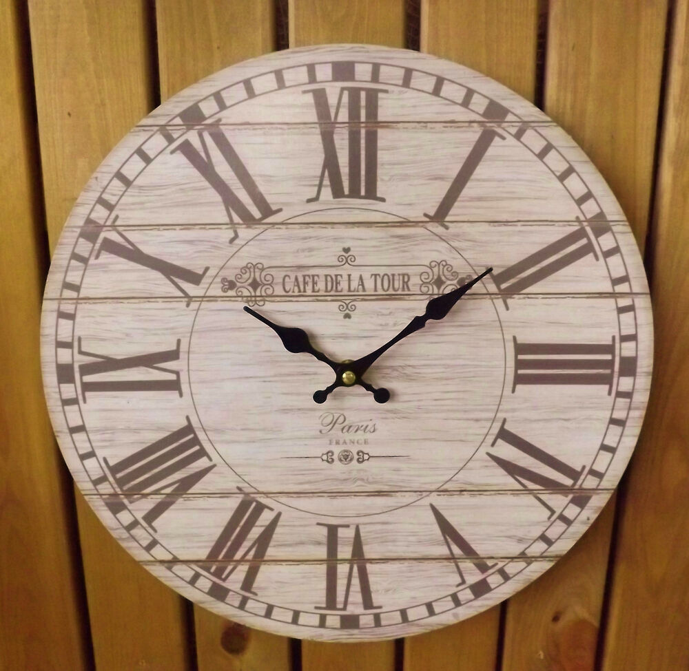 Shabby Chic French Rustic Round Wooden Wall Clock Cafe De