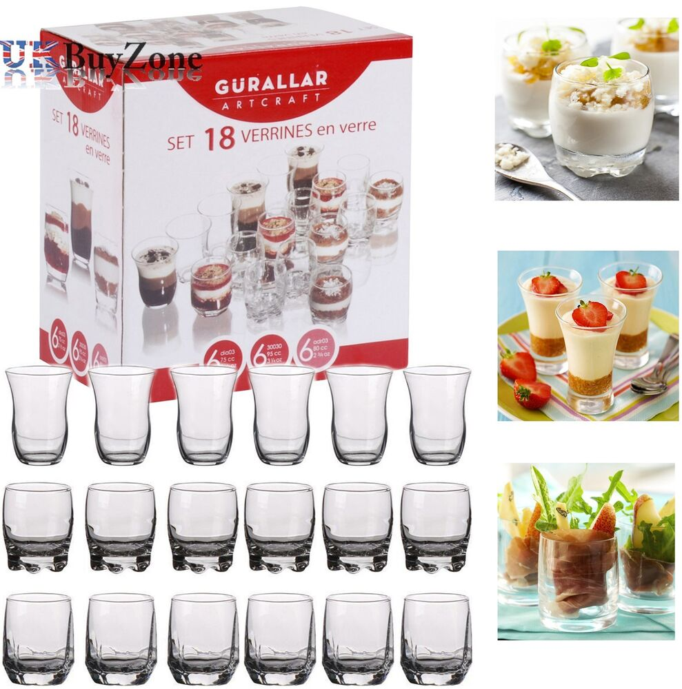 Set Of 18 Glass Dessert Cups Verrines Appetiser Dish Mini