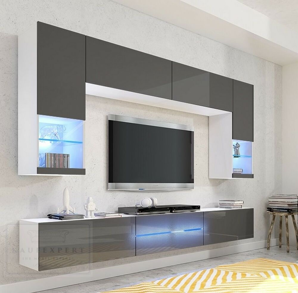 wohnwand milano grau hochglanz led beleuchtung edge galaxy mirage orion project ebay. Black Bedroom Furniture Sets. Home Design Ideas