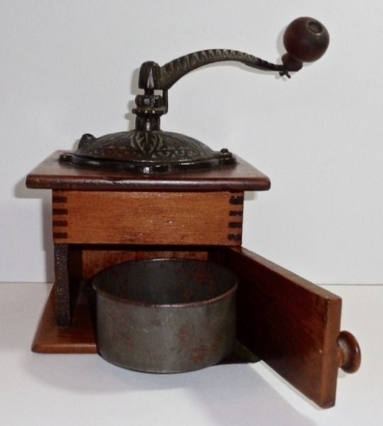Primitive old wood cast iron coffee grinder box mill w for Cast iron coffee