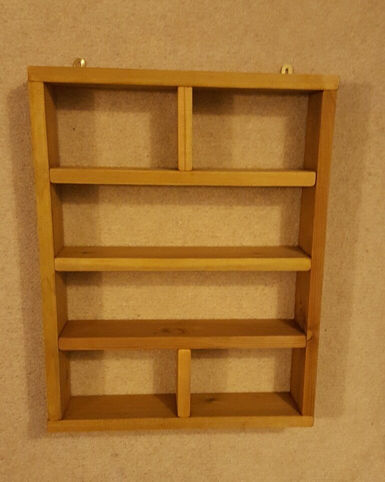 Handmade Vintage Rustic Wooden Wall Mounted Shelving Unit