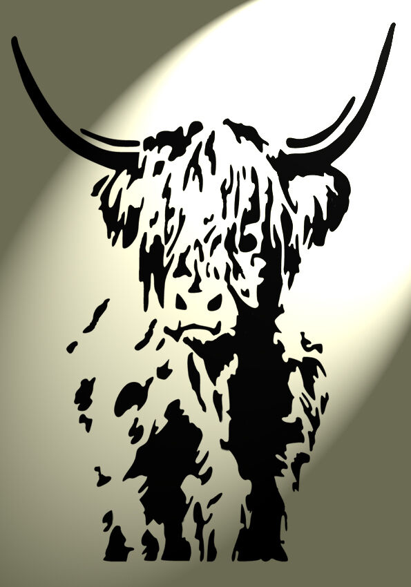Shabby Chic Highland Cow Cattle Stencil Vintage A4