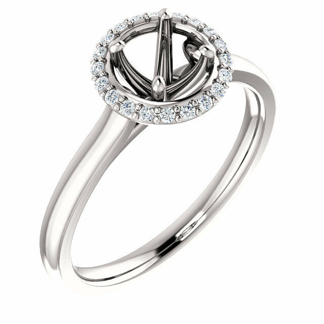 Halo Style 14k White Gold for Round Diamond Semi Mount Setting Engagement Rin